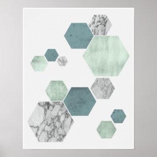 Geometriskt scandinavian kust- tonkonsttryck poster