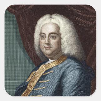 George Frederic Handel som inristas av Thomson Fyrkantigt Klistermärke