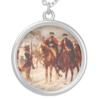 George Washington och Lafayette på dalsmedjan Silverpläterat Halsband