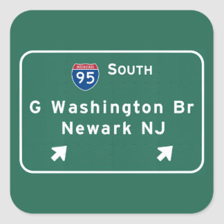 George Washington överbryggar Interstate I-95 Fyrkantigt Klistermärke