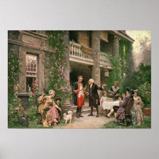 George Washington på Bartrams trädgård Poster