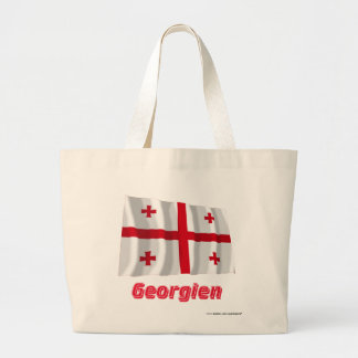 Georgien Fliegende Flagge mit Namen Tote Bags