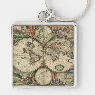 Gerard Skåpbil Schagens Kartlägga av världen, 1689 Fyrkantig Silverfärgad Nyckelring