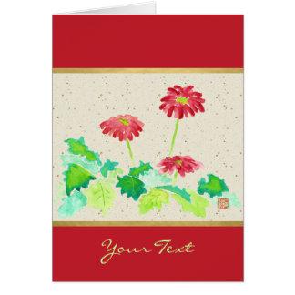 Gerberavattenfärg som målar rött grönt Washi Hälsningskort