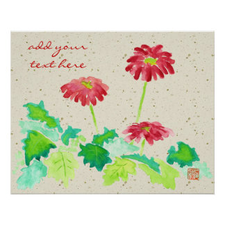 Gerberavattenfärg som målar rött grönt Washi pappe Poster