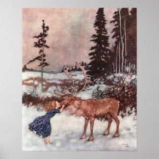 Gerda och renen av Edmund Dulac Poster