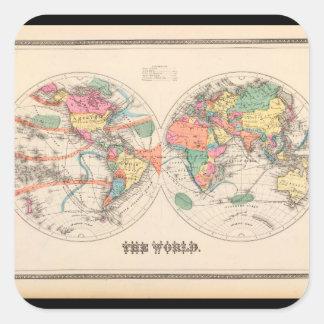 Geriatric världskarta 20_Maps av forntid Fyrkantigt Klistermärke