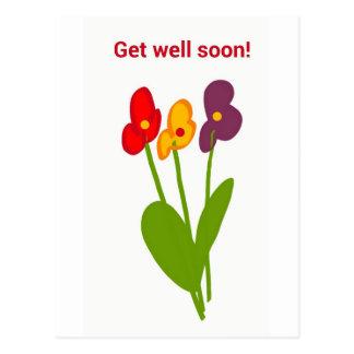 Get well soon card flowers vykort