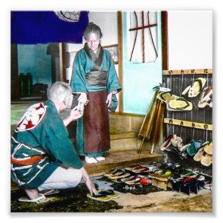 Geta skor handels- vintage gammala Japan Fototryck