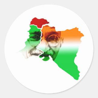 ghandi-på-Indien-och-Pakistan-gräns Runt Klistermärke