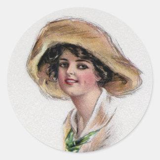 Gibson flicka i hatt och grön Tie Runt Klistermärke