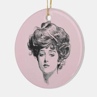 Gibson flicka i rosor julgransprydnad keramik