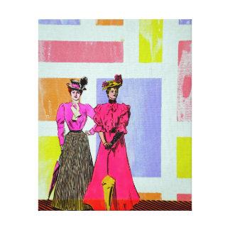 Gibson flickor i ett Mondrian mönster Canvastryck