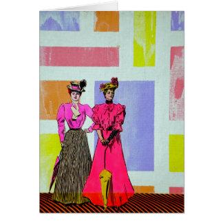 Gibson flickor i ett Mondrian mönster Hälsningskort