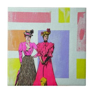 Gibson flickor i ett Mondrian mönster Kakelplatta
