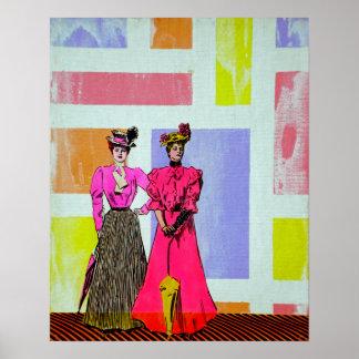 Gibson flickor i ett Mondrian mönster Poster