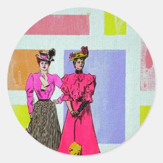 Gibson flickor i ett Mondrian mönster Runt Klistermärke