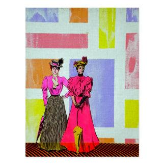 Gibson flickor i ett Mondrian mönster Vykort