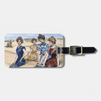 Gibson flickor på stranden, 1900 bagagebricka