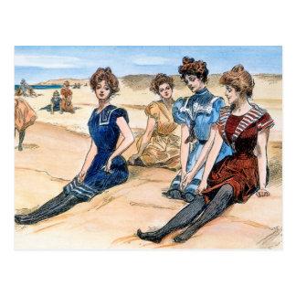 Gibson flickor på stranden, 1900 vykort