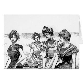 Gibson flickor på stranden hälsningskort