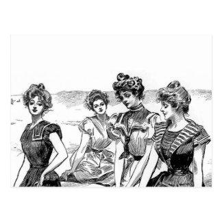 Gibson flickor på stranden vykort