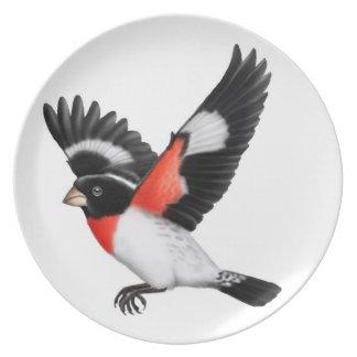 Gick mot Grosbeakfågeln för vilden ron pläterar Tallrikar