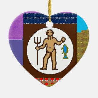 GIF för tecknad för hobby för vild för jägare för Hjärtformad Julgransprydnad I Keramik