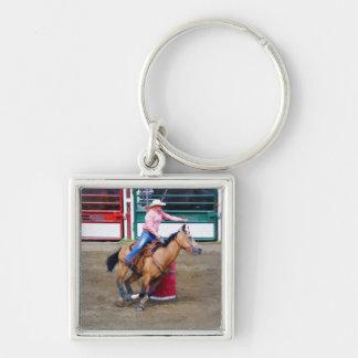 #Gift för formgivare för Trumma-Tävla RodeoCowgirl Fyrkantig Silverfärgad Nyckelring