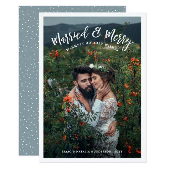 Gift & glatt fotohelgdagkort | lätt 12,7 x 17,8 cm inbjudningskort