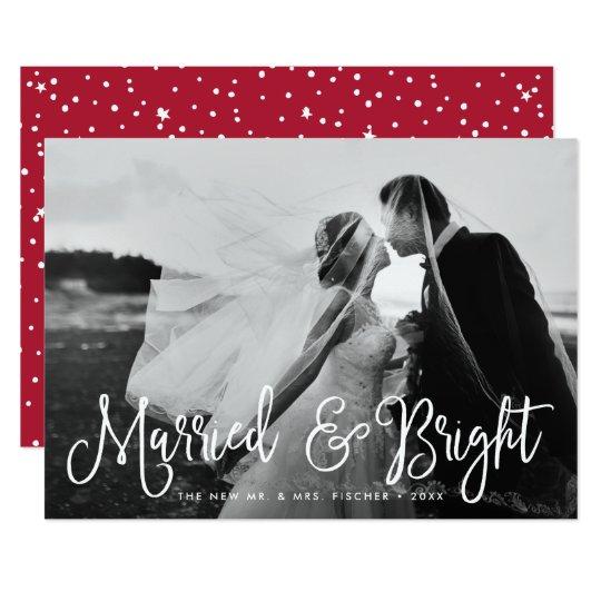 Gift & ljust kort för nygift personhelgdagfoto 12,7 x 17,8 cm inbjudningskort