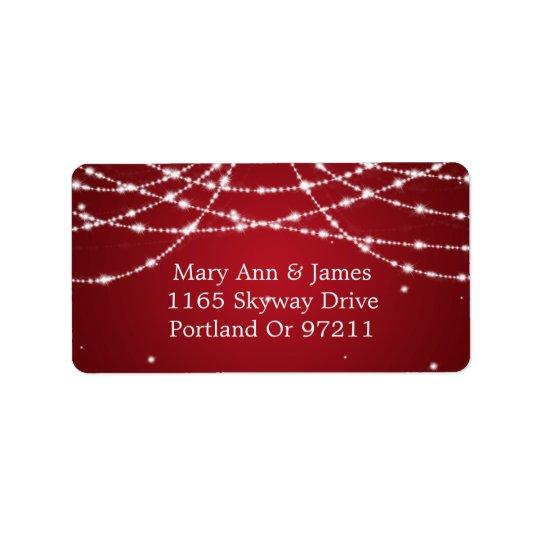Gifta sig adressen som Sparkling, stränga rött Adressetikett