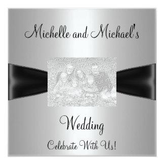 Gifta sig det svart bandfotoet för silver fyrkantigt 13,3 cm inbjudningskort