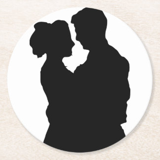 Gifta sig favörer - koppla ihop silhouetten underlägg papper rund