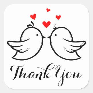 Gifta sig för hjärtor för svart tackLovebirds rött Fyrkantigt Klistermärke