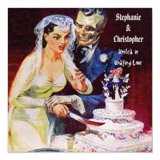 Gifta sig för kärlek för för Halloween fasabrud & Fyrkantigt 13,3 Cm Inbjudningskort