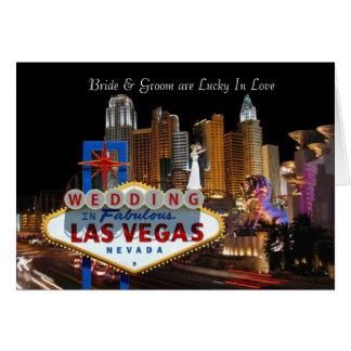 Gifta sig i Las Vegas lycklig förälskad brud & Hälsningskort