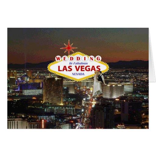 Gifta sig i sagolika Las Vegas med brud & brudgum Hälsningskort