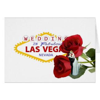 GIFTA SIG i sagolika Las Vegas röd ros med bruden Hälsnings Kort