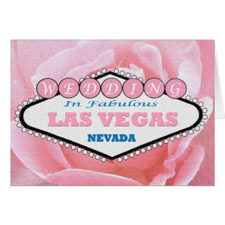 GIFTA SIG i sagolikt Las Vegas mjukt rosa roskort Hälsningskort