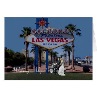 Gifta sig i Vegas! Brud & brudgum på motorcykelkor Hälsningskort