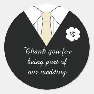 Gifta sig klistermärkear för kostymtackfavör runt klistermärke