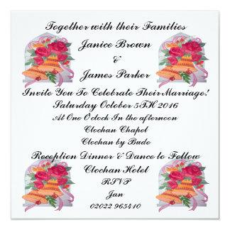 Gifta sig kortet för Klockor samlingsinbjudan Fyrkantigt 13,3 Cm Inbjudningskort