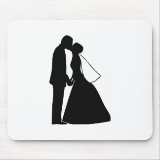 Gifta sig kyssbruden och brudgumsilhouetten mus mattor