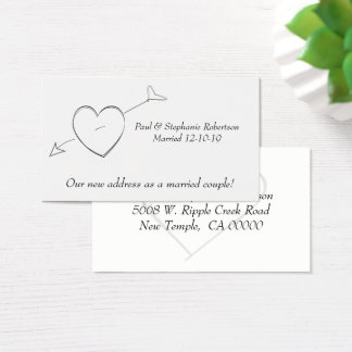 Gifta sig nyligen & nya adress hjärtor visitkort