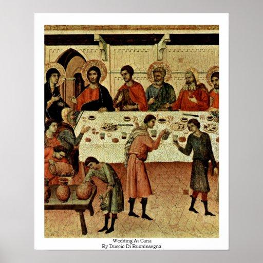 Gifta sig på Cana av Duccio Di Buoninsegna Affischer
