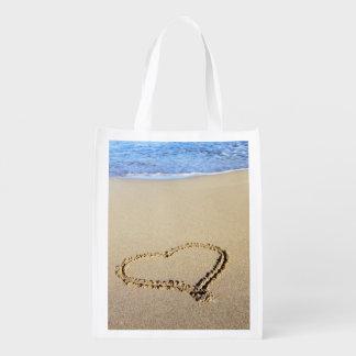 Gifta sig strandhjärtor i Sand Återanvändbara Kassar