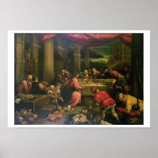 Giftermål på Cana (olja på kanfas) Poster
