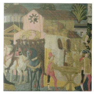 Giftermålceremoni målade på cassonepanelen, Floren Kakelplatta