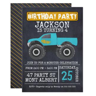 Gigantisk lastbilChalboard födelsedagsfest 12,7 X 17,8 Cm Inbjudningskort